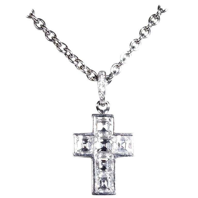 Cartier Diamond Platinum Cross Necklace