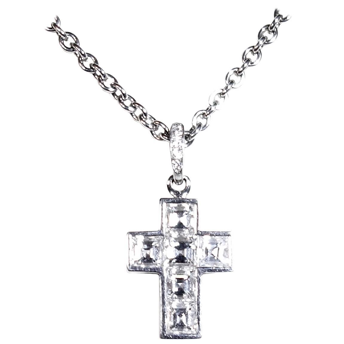 Cartier drop necklaces 26 for sale at 1stdibs cartier diamond platinum cross necklace aloadofball Images