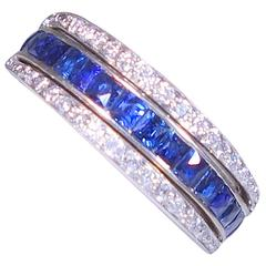 1930s Sapphire Ruby Diamond Platinum Flip Band Ring