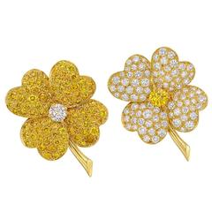 Van Cleef & Arpels Pair of Yellow and White Diamond Gold Cosmos Pins