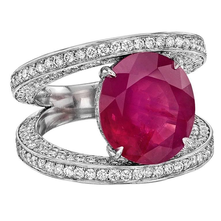 Paolo Costagli 6.10 Carat Burmese Ruby Split Shank Ring