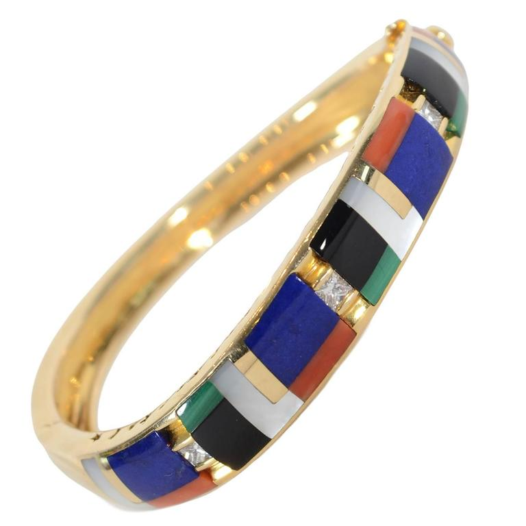 Asch Grossbardt Inlaid Stones Gold Bangle Bracelet 1