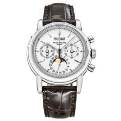 Patek Philippe White Gold Perpetual Calendar Chronograph Wristwatch