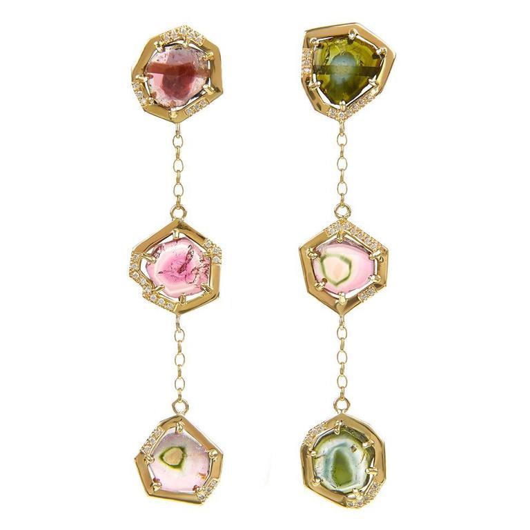 TPL Gold Watermelon Tourmaline Diamond Chain Earrings