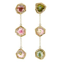 TPL Gold Watermelon Tourmaline Diamond Chain Earrings