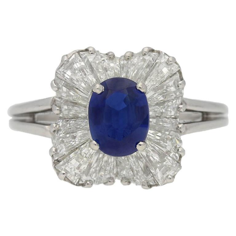 Burmese sapphire and diamond ballerina ring by Oscar Heyman Bros, circa 1970.