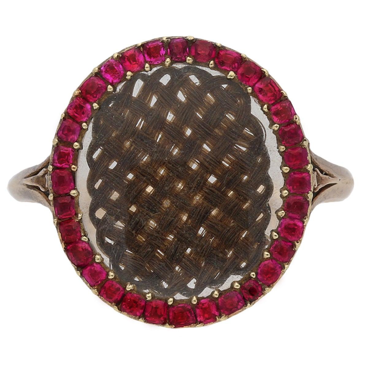A fine and rare Georgian hair and ruby memorial ring, English, circa 1760