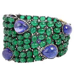 Tanzanite Emerald Diamond Silver Gold Bracelet