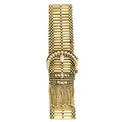 1950s Victorian Revival Gold Buckle Bracelet with Tassels