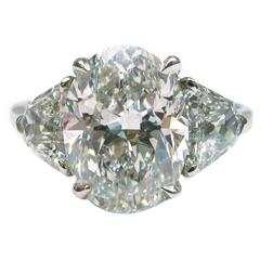 3.63 Carat GIA Cert Oval Diamond Platinum Engagement Ring