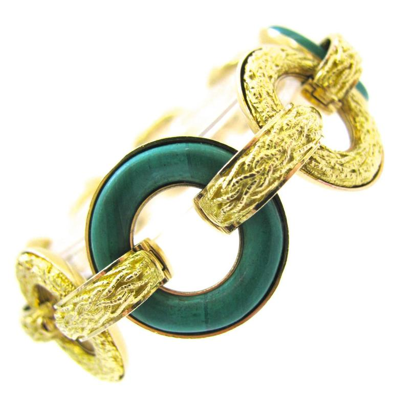 Ulmer et Cie Malachite and Gold Link Modular Jewel
