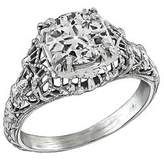 Antique 0.95ct. White Gold Engagement Ring