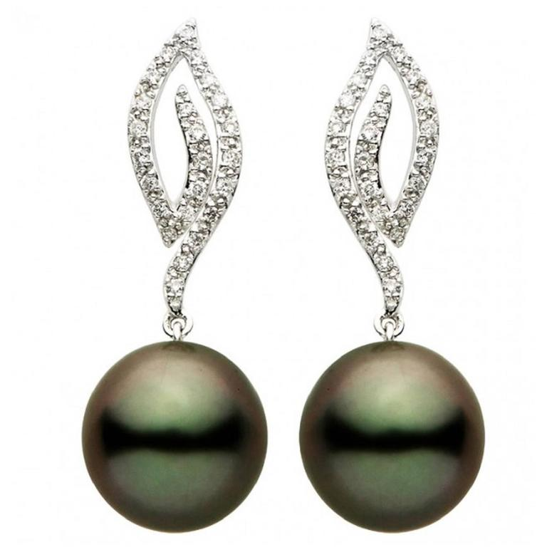 Candle Flame Tahitian Pearl Diamond Gold Earrings For Sale