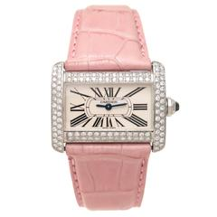 Cartier Lady's Stainless Steel Tank Divan Diamond Pave Quartz Wristwatch