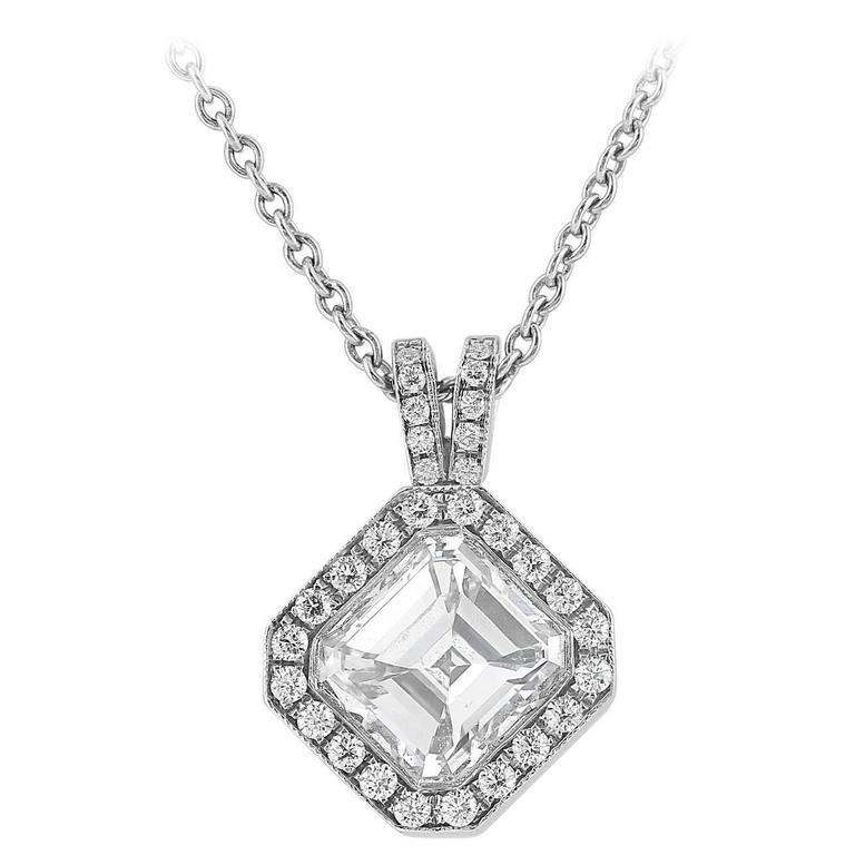 1.20 Carat Asscher Cut Diamond Platinum Pendant