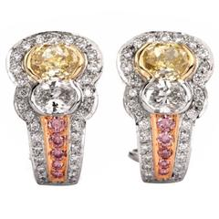 C. Krypell Natural Fancy Yellow and Pink Diamond Platinum Earrings