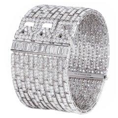 18k White Gold and 21 Carat Diamond Cuff Bracelet-Original Retail $95,000