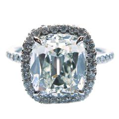 3.57 Carat GIA Cert Cushion Diamond Platinum Frame Ring