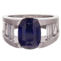 5.06 Carat Sapphire Diamond platinum Contemporary Ring