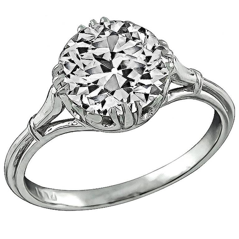 GIA 2.37 carat Old Mine Cut Diamond Platinum Engagement Ring