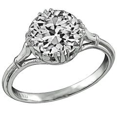GIA 2.37 carat Old Mine Cut Diamond Platinum Engagement Ring
