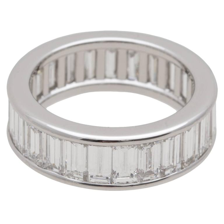 baguette eternity platinum diamond bands band
