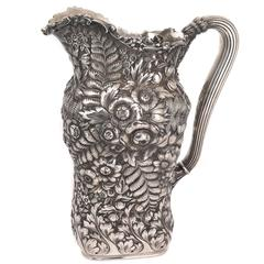 Tiffany & Co. Large Aesthetic Period Heavy Repousse Silver Pitcher