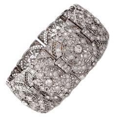 Art Deco Diamond Platinum Filigree Link Bracelet