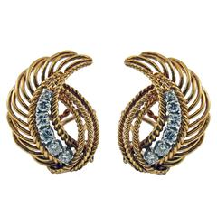 1950s Retro Diamond Gold Platinum Earclips