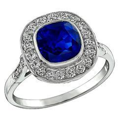 Amazing 3.12 Carat Natural Sapphire Diamond platinum Engagement Ring