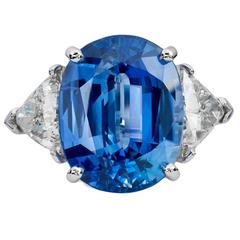 15.10 Carat Blue Sapphire and Diamond Ring