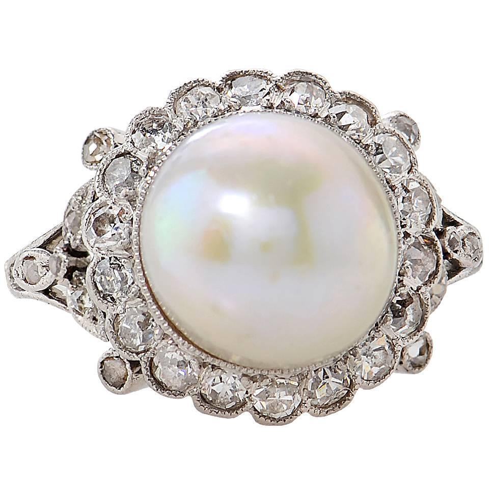 GIA Certified Art Deco Natural Pearl Platinum Ring