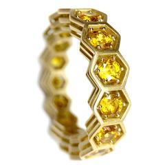 Yellow Sapphire Hexagon Eternity Ring