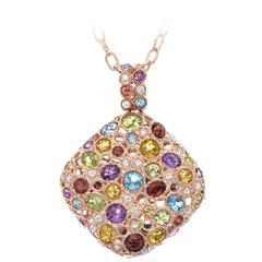 Mixed semiprecious stone diamond gold happy necklace