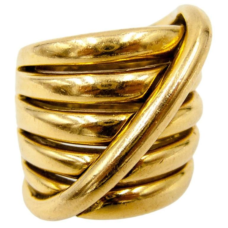 1970s Gucci Italy Gold Coil Ring For Sale