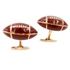 Enamel Gold Football Cufflinks