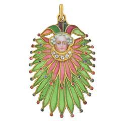 Art Nouveau Unusual Plique à Jour Gemstone Court Jester Pendant