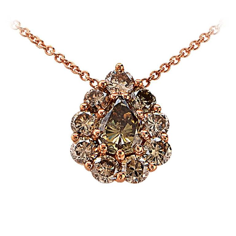 4.75 Carat Fancy Colored Diamond Gold Necklace