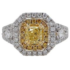 Vivid 1.02 Carat GIA Cert Yellow Cushion Cut Diamond Gold Ring