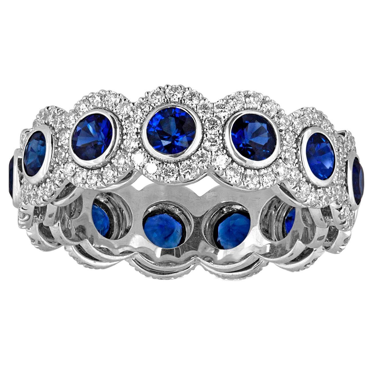 4.12 Carats Eternity Blue Sapphire Diamond Gold Band Ring