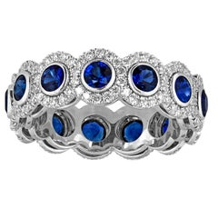 4.12 Carats Eternity Blue Sapphire Diamond Gold Band Ring