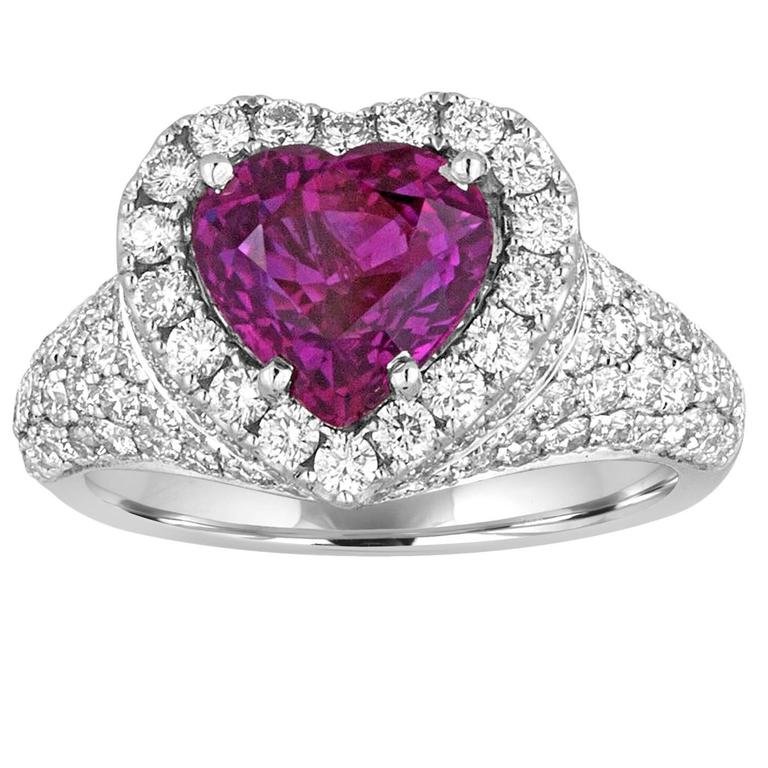 Certified No Heat 3.05 Carat Purple Sapphire Diamond Gold Heart Ring