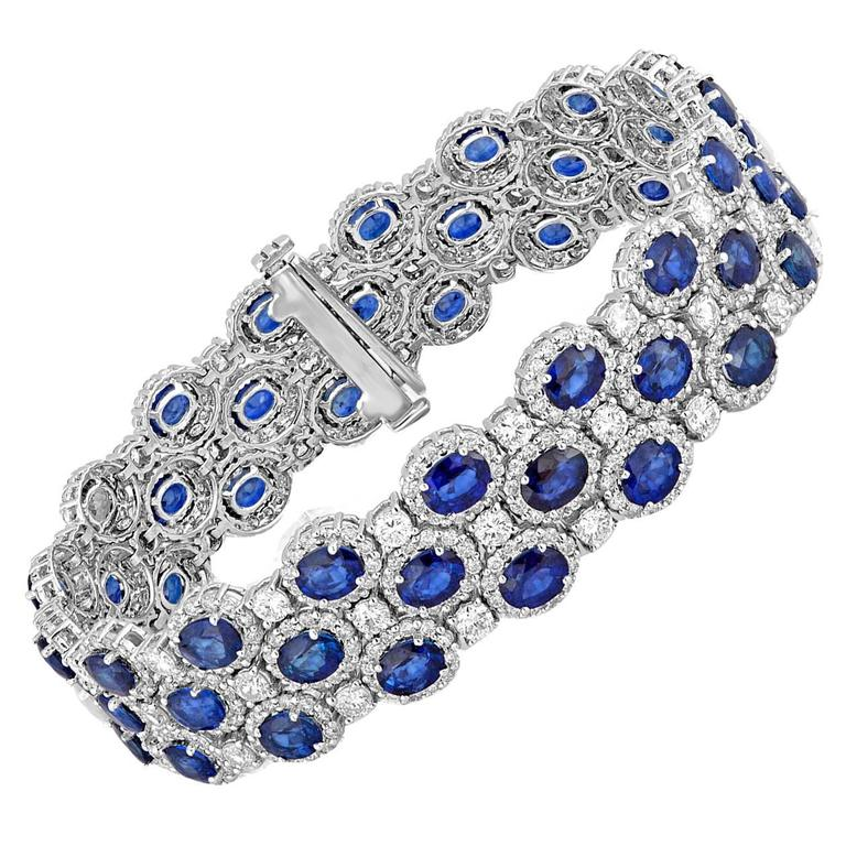 22.10 Carats Sapphire Diamond Gold Bracelet