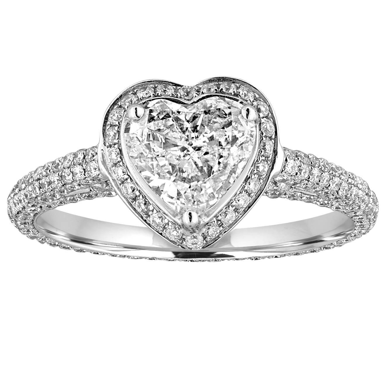 GIA Certified 0.82 Carat G VS1 Heart Shaped Diamond Engagement Ring