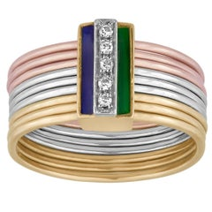Italian Enamel Diamond Three Color Gold Multi-Band Ring