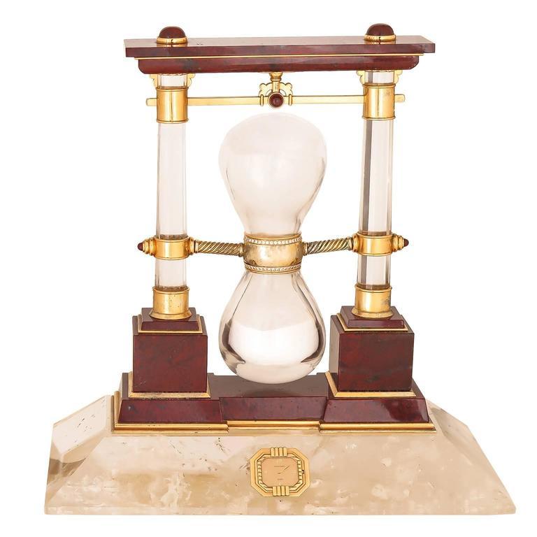 Chaumet Paris Large Rock Crystal Gem set Gold Presentation Clock