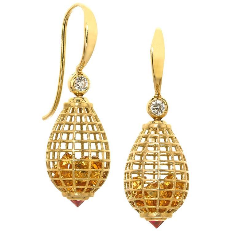 Roule and Co. Honey Citrine Inverted Ruby Diamond Gold Shaker Teardrop Earrings