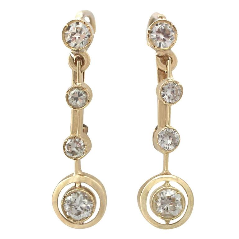 0.74 Carat Diamond and 18 Karat Yellow Gold Drop Earrings, Antique circa 1930