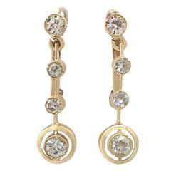 0.74 Carat Diamond and 18 Karat Yellow Gold Drop Earrings, Antique circa 1930