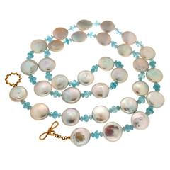 Fresh Water Coin Pearl Aquamarine Gold Necklace